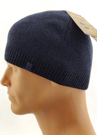 Вязаная мужская шапка теплая