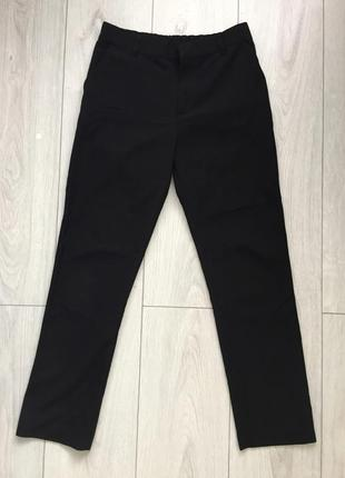 Брюки, штани, классические прямые, укороченные черные брюки.