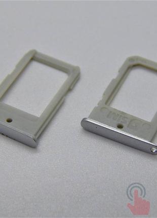 SIM лоток для Samsung G925F Galaxy S6 Edge Silver
