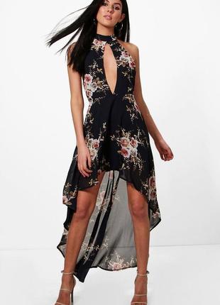 Boohoo boutique шикарное шифоновое вечернее платье