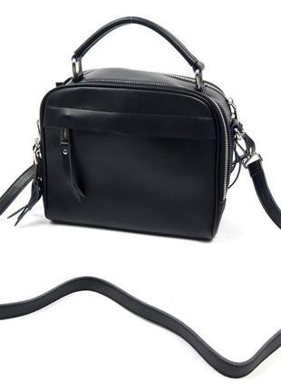 Женская кожаная сумка, черная