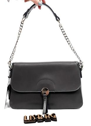 Женская кожаная сумка серого цвета практичная и удобная
