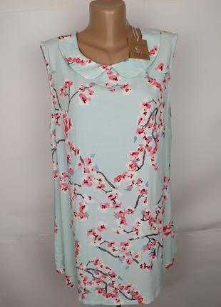 Блуза новая натуральная в принт цветы сакуры joules uk 14/42/l