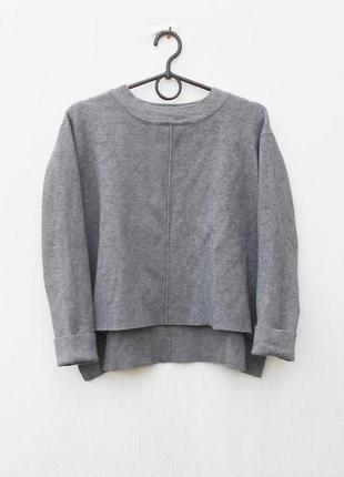 Серый осенний зимний укороченный свитер оверзайз zara knit