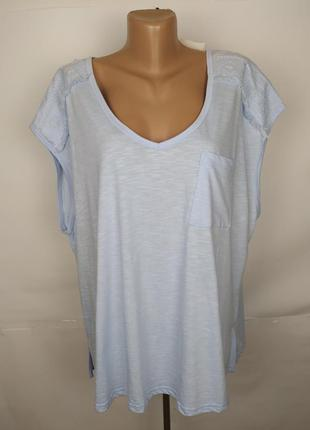 Блуза новая хлопковая голубая с вышивкой большого размера next...