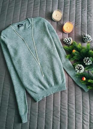 Шерстяной джемпер, свитер (100% шерсть) серый