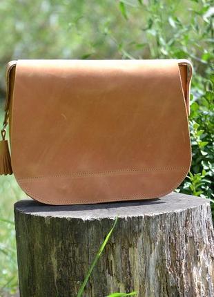 Женская сумка седло с магнитом из натуральной кожи wb_16