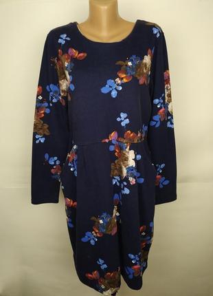 Платье красивое синие хлопковое в цветы joules uk 16/44/xl