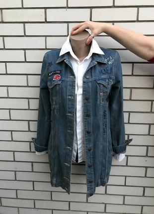 Крутой,удлиненный джинсовый жакет,пиджак,блейзер,куртка,нашивк...