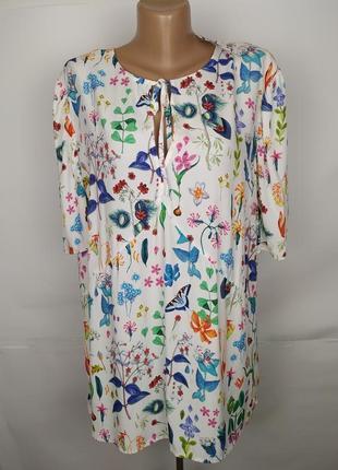 Блуза новая стильная натуральная в принт next uk 20/48/3xl