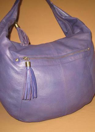 Большущая кожаная сумка английского бренда florence&fred натур...