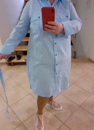 Бомбезное котоновое с карманами платье рубашка большого размера