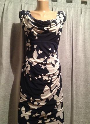 Оригинальное облегающее платье футляр чехол с цветочным принто...
