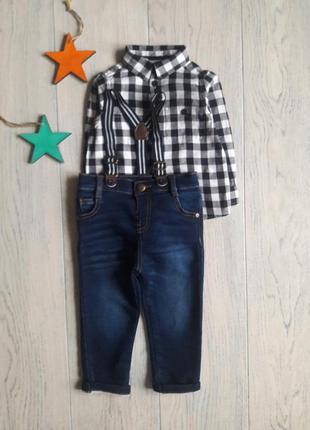 Набор байковая рубашка + джинсы на подтяжках