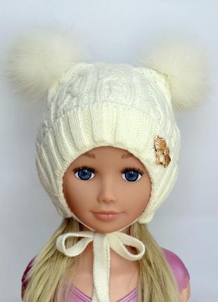 Шикарная зимняя детская вязаная шапка arctic с двумя бубонами