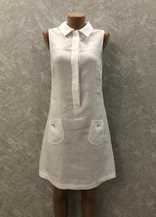 Платье сарафан с воротничком 100% лен