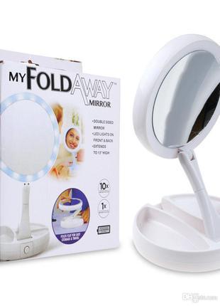 Зеркальце с подсветкой для макияжа круглое My Fold Away Mirror