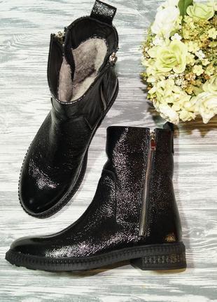 🌿39🌿кожа. стильные зимние ботинки на низком ходу