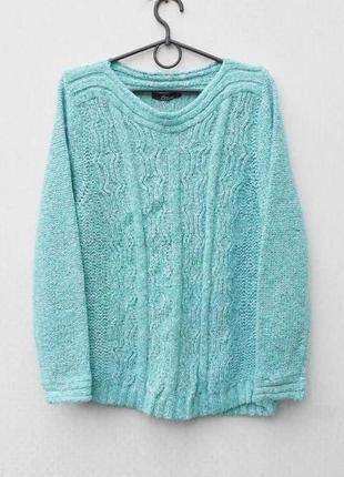 Бирюзовый осенний зимний мягкий свитер свитшот с шерстью