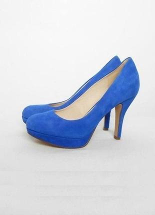 Синие замшевые кожаные классические туфли лодочки по приятной ...