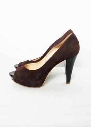 Замшевые кожаные классические туфли лодочки с открытым носком ...