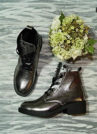 🌿37🌿кожа. зима. стильные зимние ботинки на удобном широком каб...