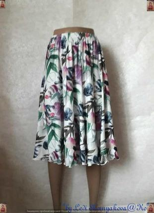 Новая просторная красочная юбка миди  в яркий принт крупных  л...