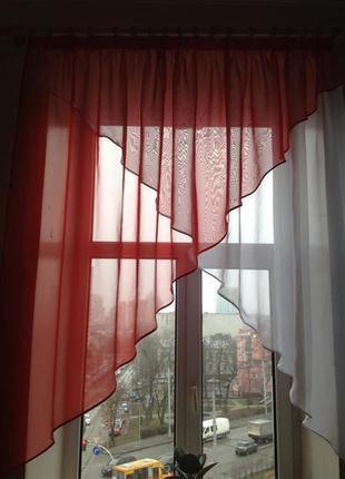 Тюль, занавеска, гардина  красная с белым на кухню