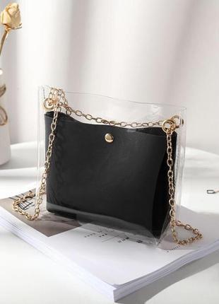 Модная сумка,силикон,косметичка,2 в 1