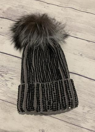Шапка вязаная стразы , шапка тёплая