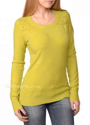 Пуловер с ажурным верхом, m-xl