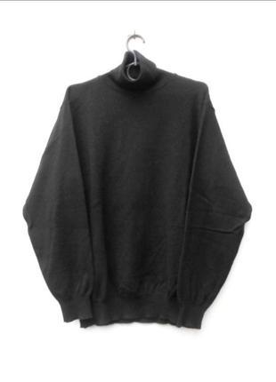 Черный осенний зимний шерстяной базовый свитер под горло с дли...