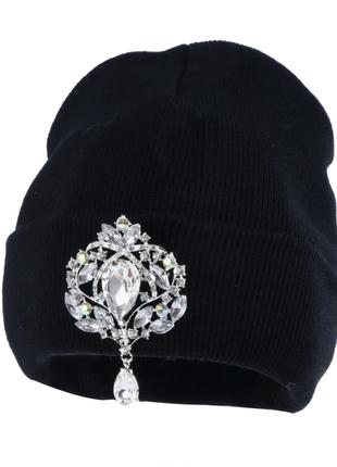 Шапка теплая, шапочка, зимняя, шапочка взрослая, вязаная, с бр...