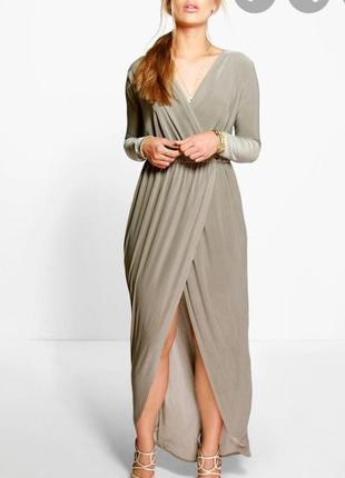 Макси платье телесного цвета