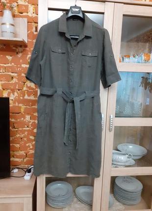 Бомбезное котоновое платье рубашка с карманами большого размера
