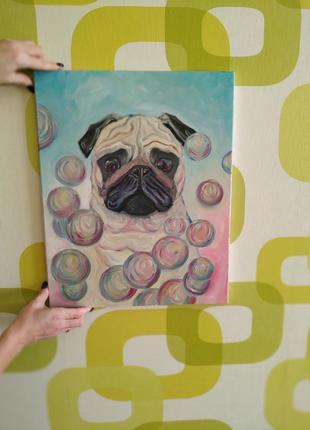 """Картина """" Мопс и мыльные пузыри"""""""