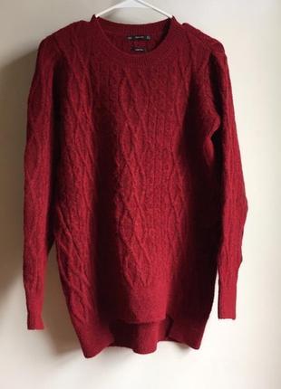 Удлиненный теплый свитер пуловер кофта с косами zara