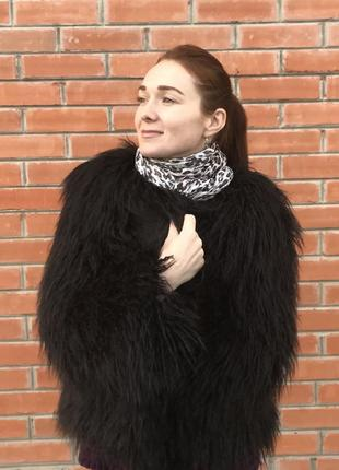 Шуба из ламы чёрная искусственная как натуральная эко мех коро...