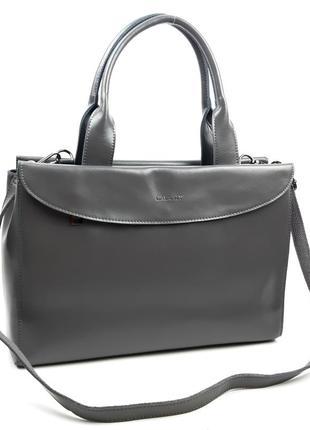 Женская большая кожаная сумка céline серая