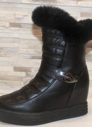 Женские зимние черные сапоги на скрытой танкетке с натуральным...