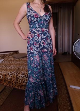 Легкое летнее платье в пол в цветы 100% коттон 12 р warehouse