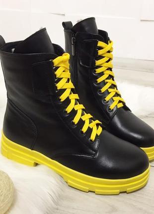 Прямой поставщик! яркие зимние ботинки на шнурках на желтой по...