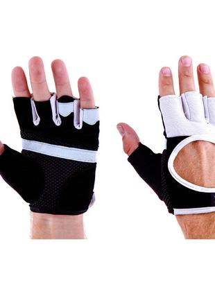 Перчатки атлетические черно-белые Ronex RX-01, размер L