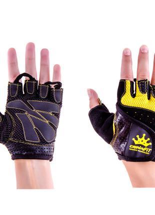 Перчатки атлетические черно-желтые CrownFit RX-04, размер S