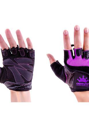 Перчатки атлетические черно-сиреневые CrownFit RX-04, размер S