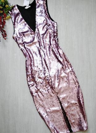 Платье миди в пайетки идеальное платье на новый год h&m 36