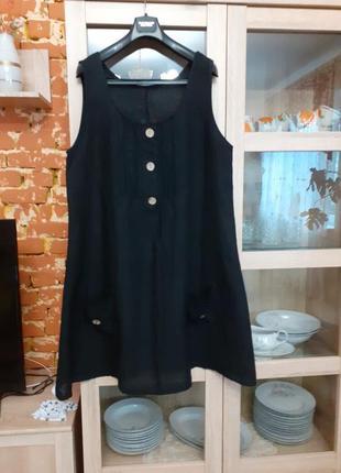 Роскошное льняное с карманами платье большого размера