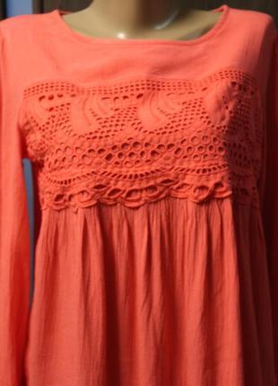 Коралловая блузка с шитьем next в идеальном состоянии l