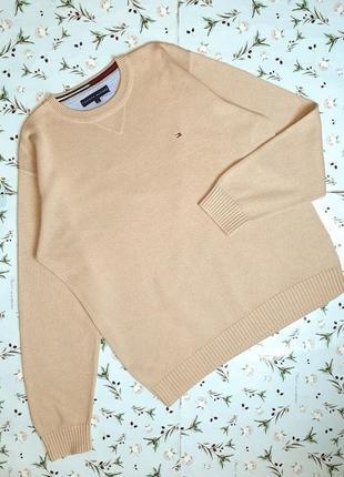 🎁1+1=3 фирменный плотный бежевый коттоновый свитер tommy hilfi...