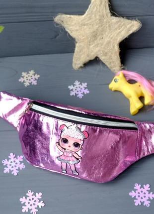 Сумка-бананка с куклой lol балерина, поясная блестящая сумка 7...